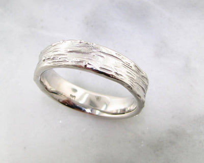 Palladium Ring, Medium Birch Band