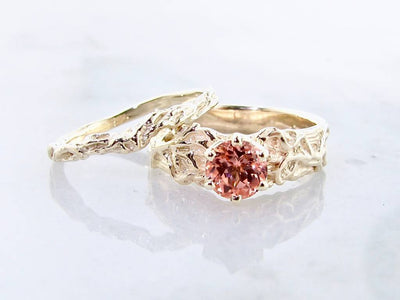 Peach Champagne Sapphire Yellow Gold Wedding Ring Set, Roots