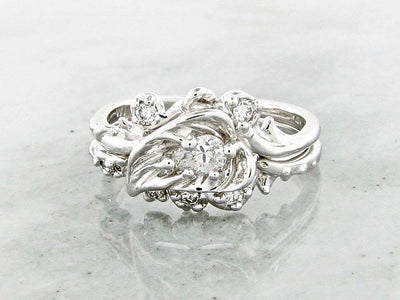 White Gold Diamond Wedding Ring Set, Thorny Brambly Leaf