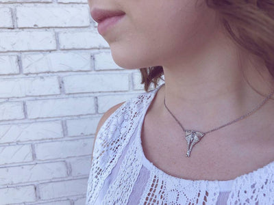 Marquise Aquamarine Silver Necklace, Luna Moth