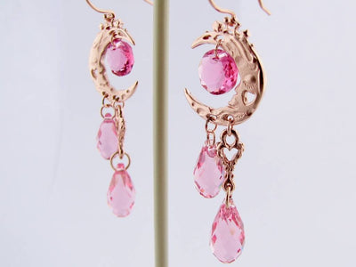 Rose Gold Crystal Dangle Earrings, Pink Moon
