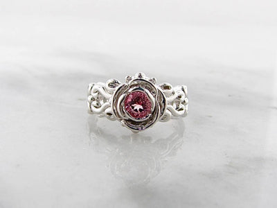 Pink Topaz Silver Ring, Victorian A la Rose