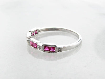 White Gold Diamond Princess Cut Ruby Ring, Orient Express