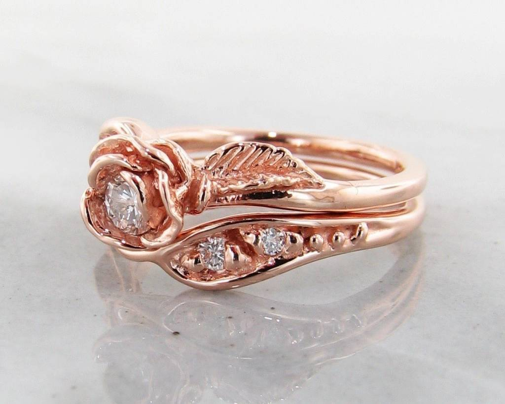 Rose Gold Wedding Ring.Diamond Rose Gold Wedding Ring Set Prize Tea Rose
