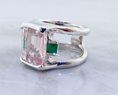silver-green-pink-emerald-cut-gemstone-ring-wexford-jewelers