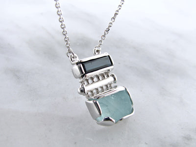 raw-march-birthstone-blue-tourmaline-silver-pendant-wexford-jewelers