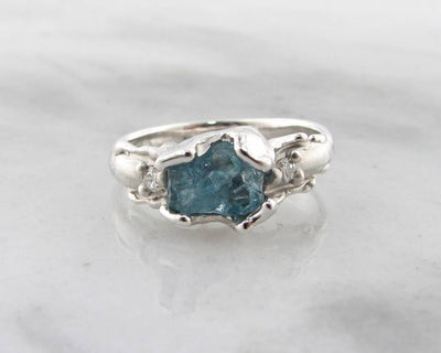 Raw Aquamarine Diamond Silver Ring, Unfolded