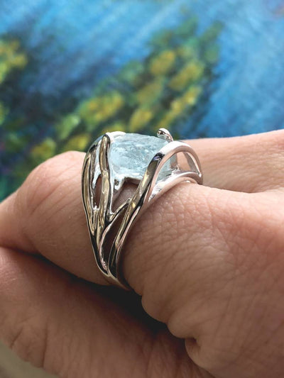 Raw Aquamarine Silver Ring, Openwork Arches
