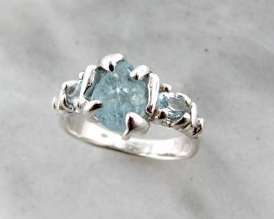 Raw Aquamarine Trillion Cut Silver Ring, Superior Sprite