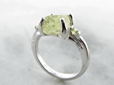 Yellow Green Raw Demantoid Garnet Peridot Silver Ring, Springtime