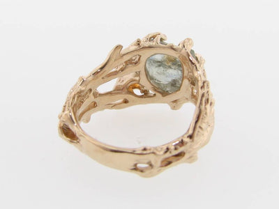 Raw Sapphire Gold Ring, Golden Birch