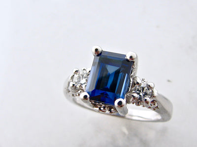 emerald-cut-sapphire-silver-moissanite-ring-wexford-jewelers
