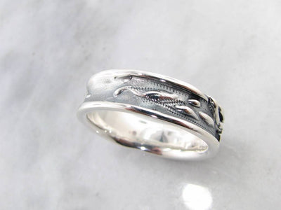 Antiqued Silver Ring, Rosebud Leaf Band