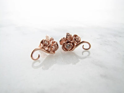 Rose Gold Diamond Earrings, Rosebud Vine