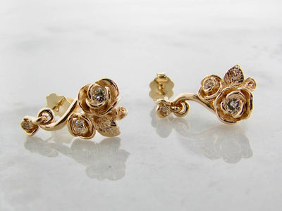 Yellow Gold Diamond Earrings, Island Rose Garden