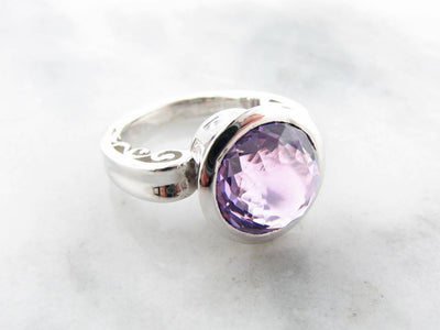 Fantasy Cut Amethyst Silver Ring, Greek Monument