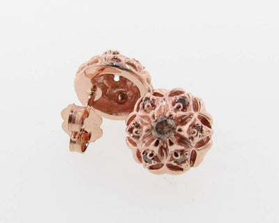 Rose Gold Cognac Diamond Earring Studs, Bisnonna