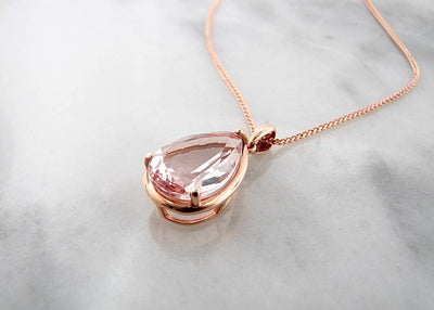 Rose Gold Pear Shape Morganite Necklace, Divine