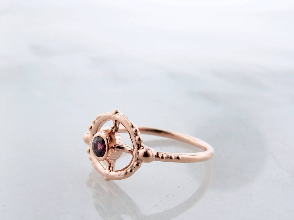 8a6e9ced57e30 Purple Sapphire Rose Gold Ring, Compass Points