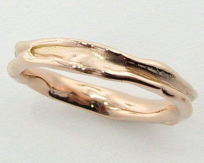 Rose Gold Ring, Skinny Melted Band