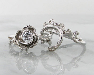 Diamond White Gold Wedding Ring Set, Rose Garland
