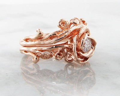 Diamond Rose Gold Wedding Ring Set, Rose Garland
