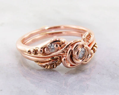 Diamond Rose Gold Wedding Ring Set, Tea Rose