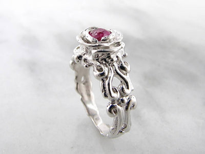victorian-design-band-rose-setting-pink-colored-gemstone-engagement-silver