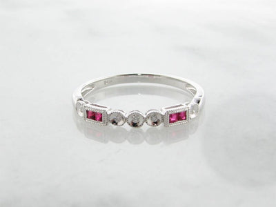 White Gold Diamond Princess Cut Ruby Stacking Ring, Diadem