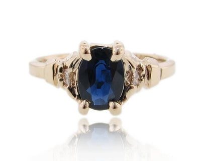 Sapphire Diamond Ring Yellow Gold, Art Deco