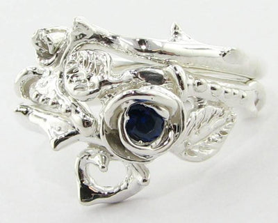 Sapphire Silver Wedding Set, Thorned Rose