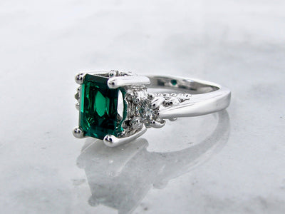 old-paris-moissanite-emerald-silver-ring-wexford-jewelers