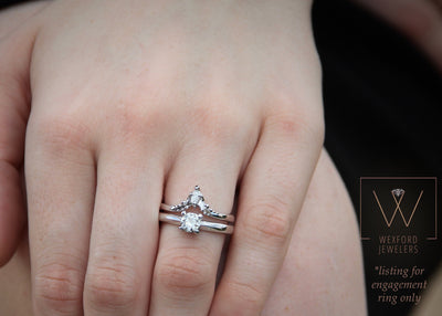Moissanite Silver Ring Solitaire, Wexford Standard Engagement
