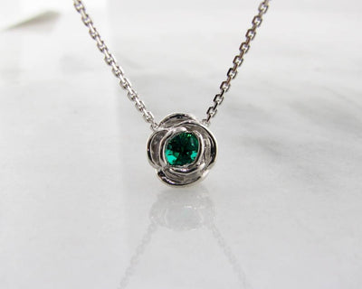 Silver Emerald May Birthstone Necklace, Rose Slider