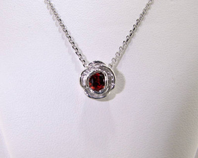 Silver Garnet January Birthstone Necklace, Rose Slider