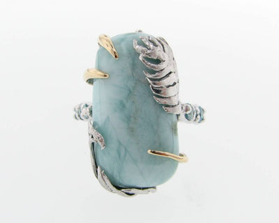 Silver Gold Two-tone Larimar Ring, Tropical Getaway
