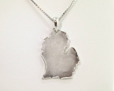 Silver Michigan Pendant, Sandblast Finish, Pleasant Peninsula