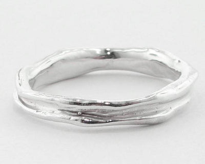 Silver Ring, Skinny Melted Band