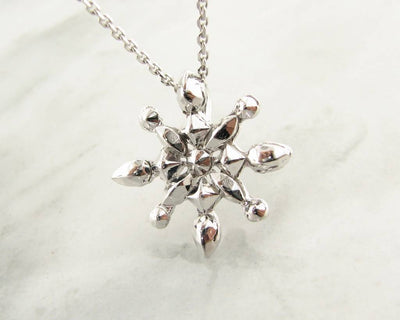 Silver Snowflake Necklace, Faceted