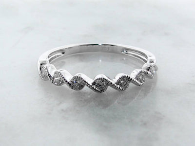 White Gold Band Diamond Stacking Ring, Twist