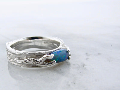Lightning Ridge Opal Silver Ring, Tree Branches
