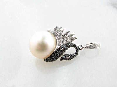 White Gold Black White Diamond Pearl Enhancer Pendant, Swan