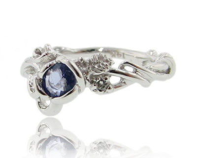Tanzanite Diamond White Gold Ring, Rose Garden Full Bloom