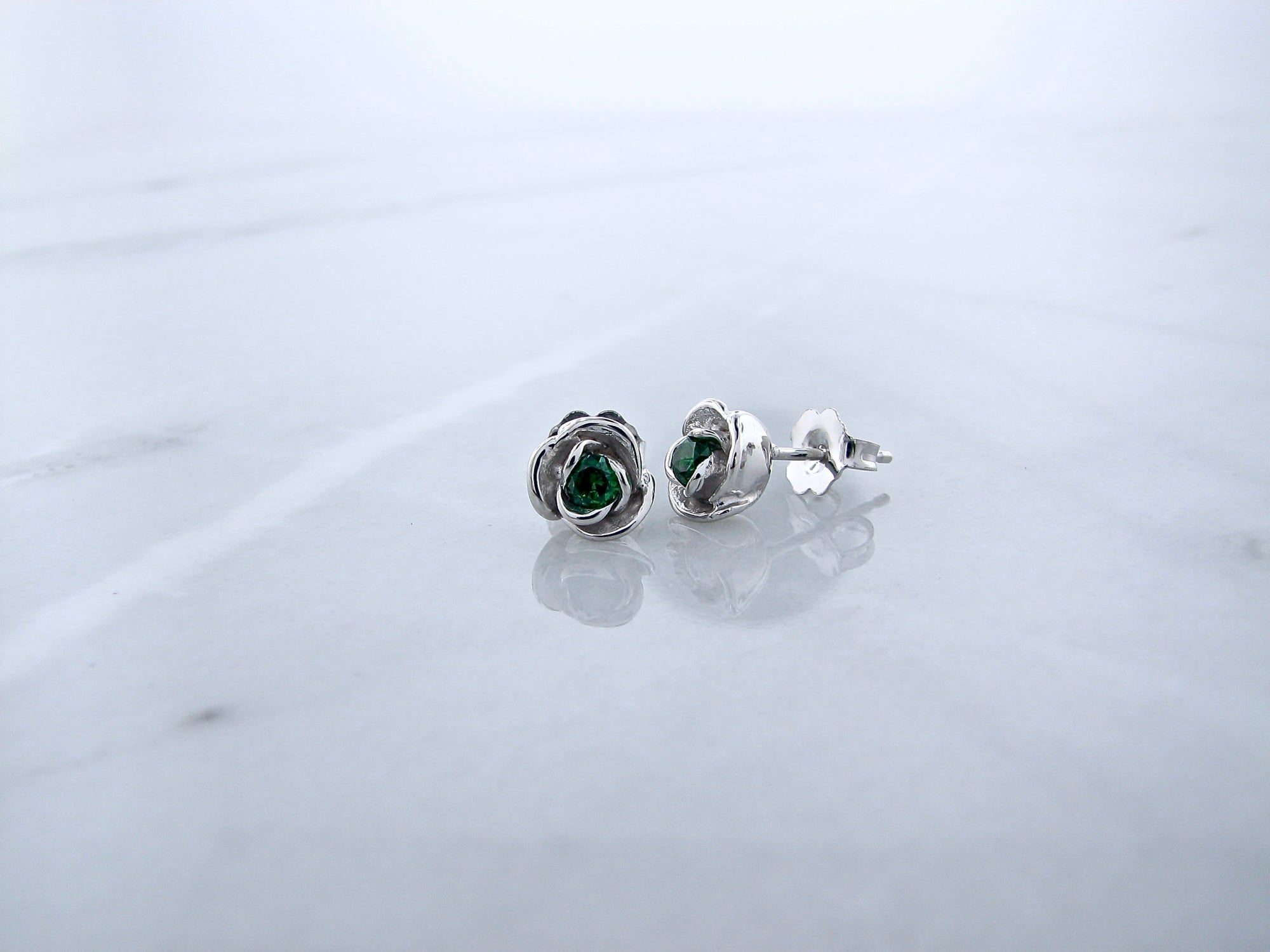 8e5fa5cdee301 Silver Emerald Earrings Studs, Petite Rosebud