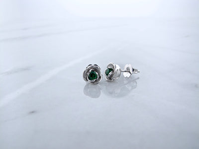 Silver Emerald Earrings Studs, Petite Rosebud
