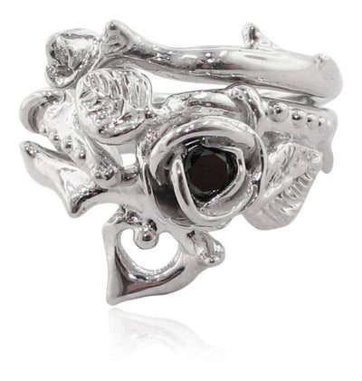 Silver Black Diamond Wedding Ring Set, Thorned Rose
