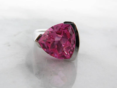 Pink Topaz Silver Ring Trillion Cut, Pink Punk