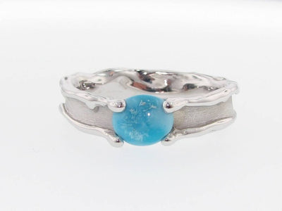 Turquoise Silver Ring, Medium Melted Band