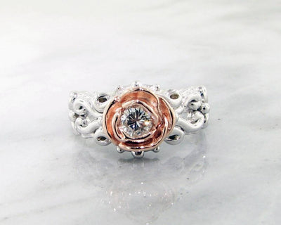 Two Tone Rose, White Gold Diamond Ring, Victorian a la Rose