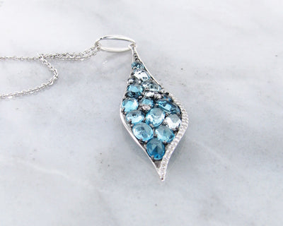 Blue Topaz Diamond White Gold Multi-Stone Pendant, High Tide